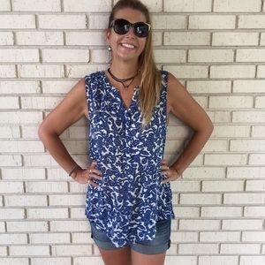 Lucky brand blue & white sleeveless top women L
